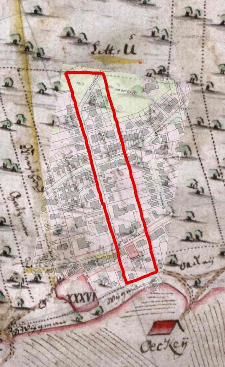Ausschnitt der Markenteilungskarte 1786 mit Überlagerung einer aktuellen Katasterkarte: von den Häusern Hevener Straße 35 – 39 am unteren Rand bis oben zu Hausnr. Am Gebrannten 40 zog sich das ehemalige Grundstück Oberste-Beulmann.