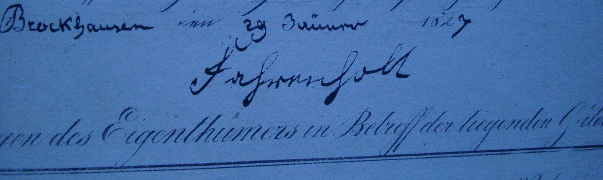 """Unterschrift """"Fahrenholt"""" im Stiepeler Urkataster 1823"""