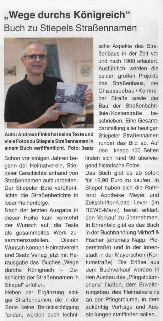 """Stiepeler Bote 11-2016: Verkaufsstart """"Wege durchs Königreich"""" 21. Oktober 2016"""