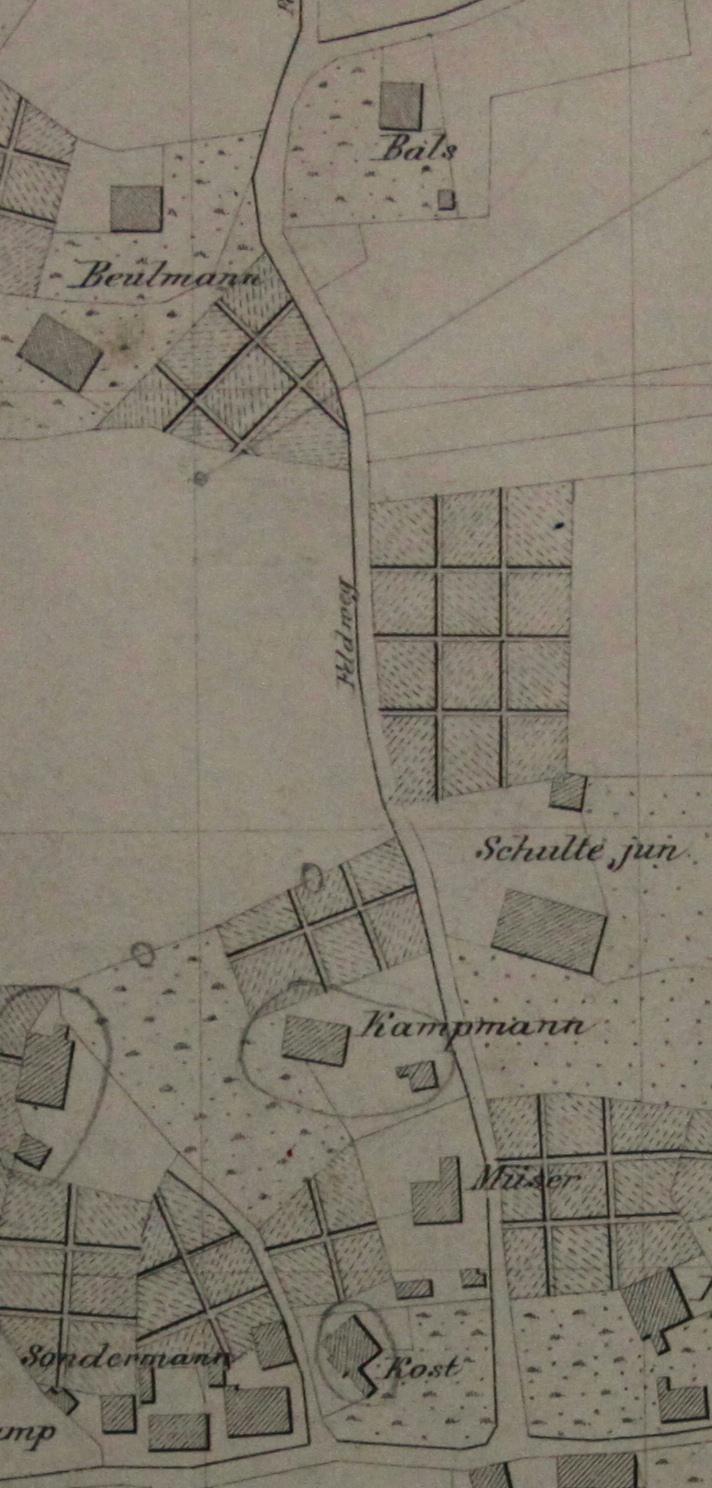 Ein Kartenausschnitt aus dem Jahr 1889: über Jahrhunderte gab es genau sechs Häuser an der Düsterstraße