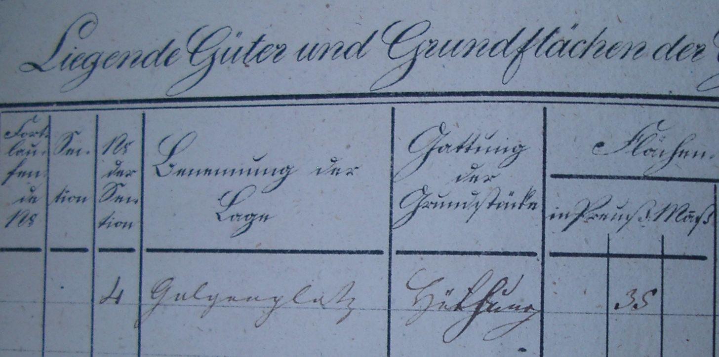 Im Jahr 1823 im Besitz der Gemeinden Mittel- und Oberstiepel: der Galgenplatz. Die Gemeindgrenze verlief an dieser Stelle entlang der Straße