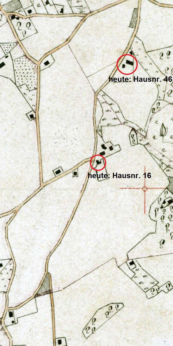 Ausschnitt aus der Stiepeler Gemarkungskarte von 1885, ergänzt um zwei heutige Hausnummern