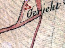 """Auf der Niemeyerkarte von 1792 als """"Gericht"""" an der heutigen Galgenfeldstraße eingezeichnet:ein Galgen in Dreiecksform"""