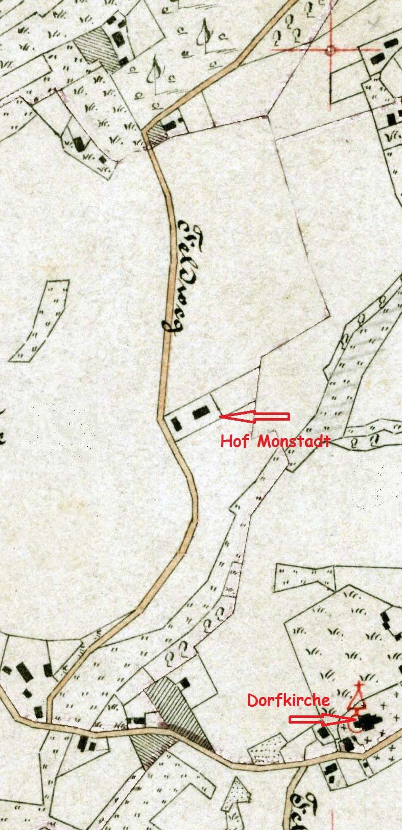 Auf der Stiepeler Gemarkungskarte 1885 gut zu erkennen: der Straßenverlauf geht über die heutige Brüggenenystraße