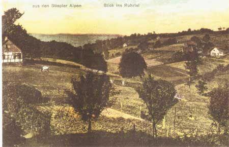 Die Postkarte (vermutlich vor 1920) gibt den Blick wieder von der heutigen Gräfin-Imma-Straße in Höhe des griechischen Restaurants in Richtung Pastoratsbusch / Henkenberg