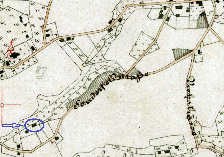 """Auf der Gemarkungskarte von 1884 bereits als """"Sonderfeldstraße"""" bezeichnet (blau markiert: das Pastorat)"""