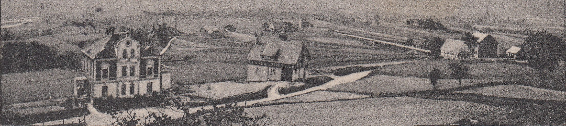 Blick von Haus Frische in Richtung Süden auf die heutige Kemnader Straße, in der Bildmitte die alte Genossenschaft, Foto ca. nach 1910