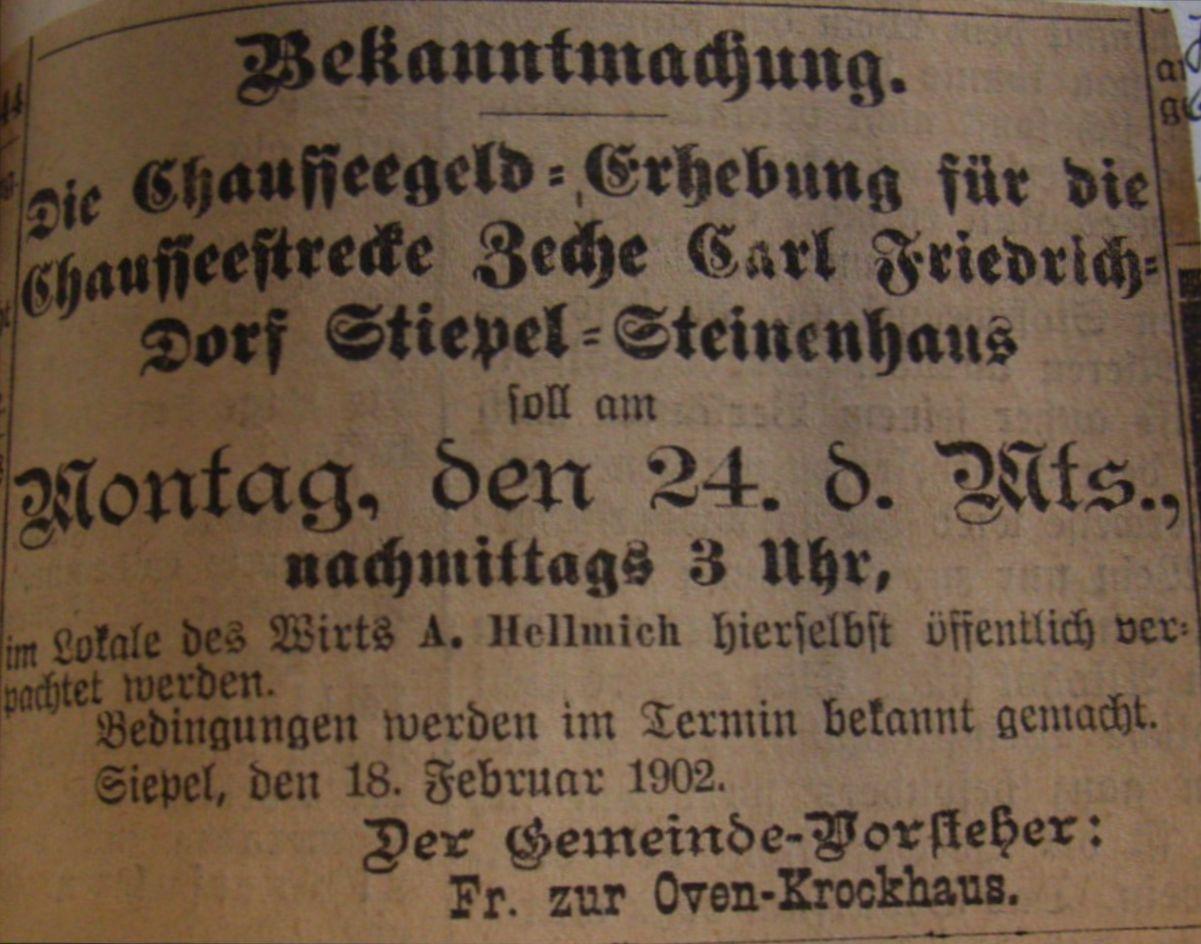 """Bekanntmachung vom 18. Februar 1902: """"Die Chausseegeld-Erhebung … soll … öffentlich verpachtet werden."""""""