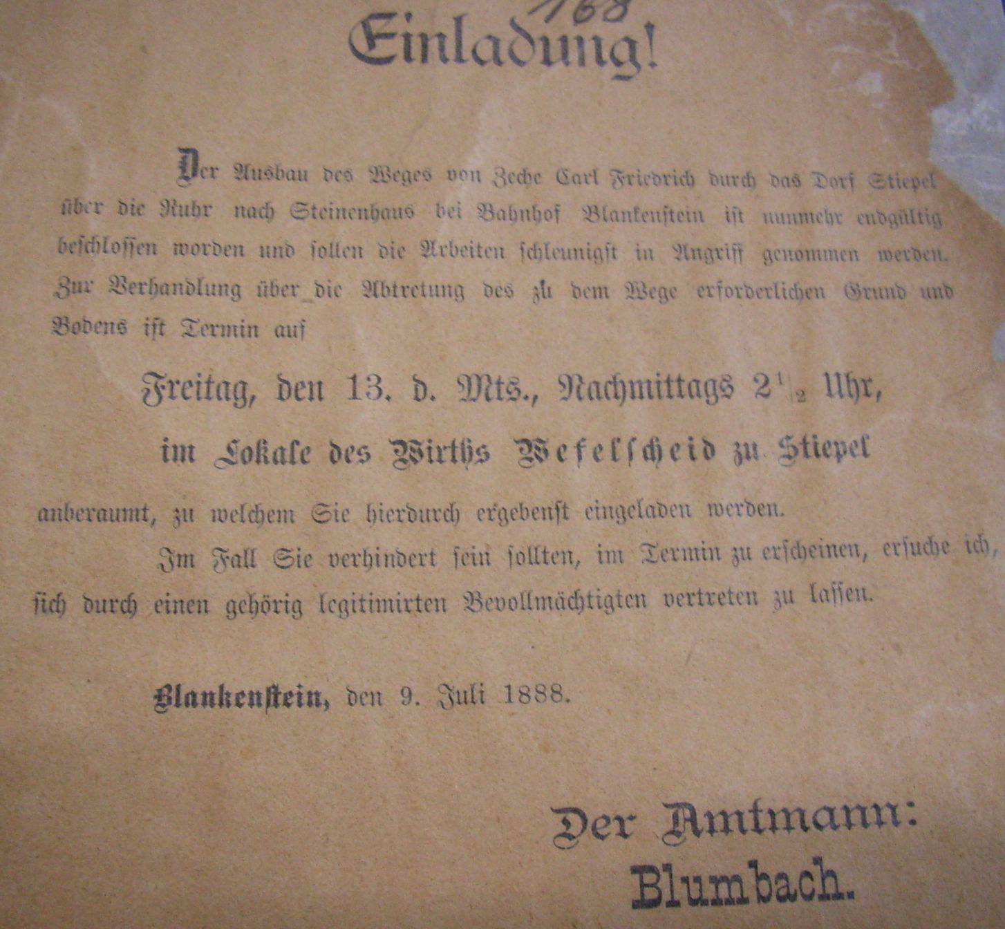 """Einladung """"… zur Verhandlung über die Abtretung des … Grund und Bodens"""", Juli 1888"""