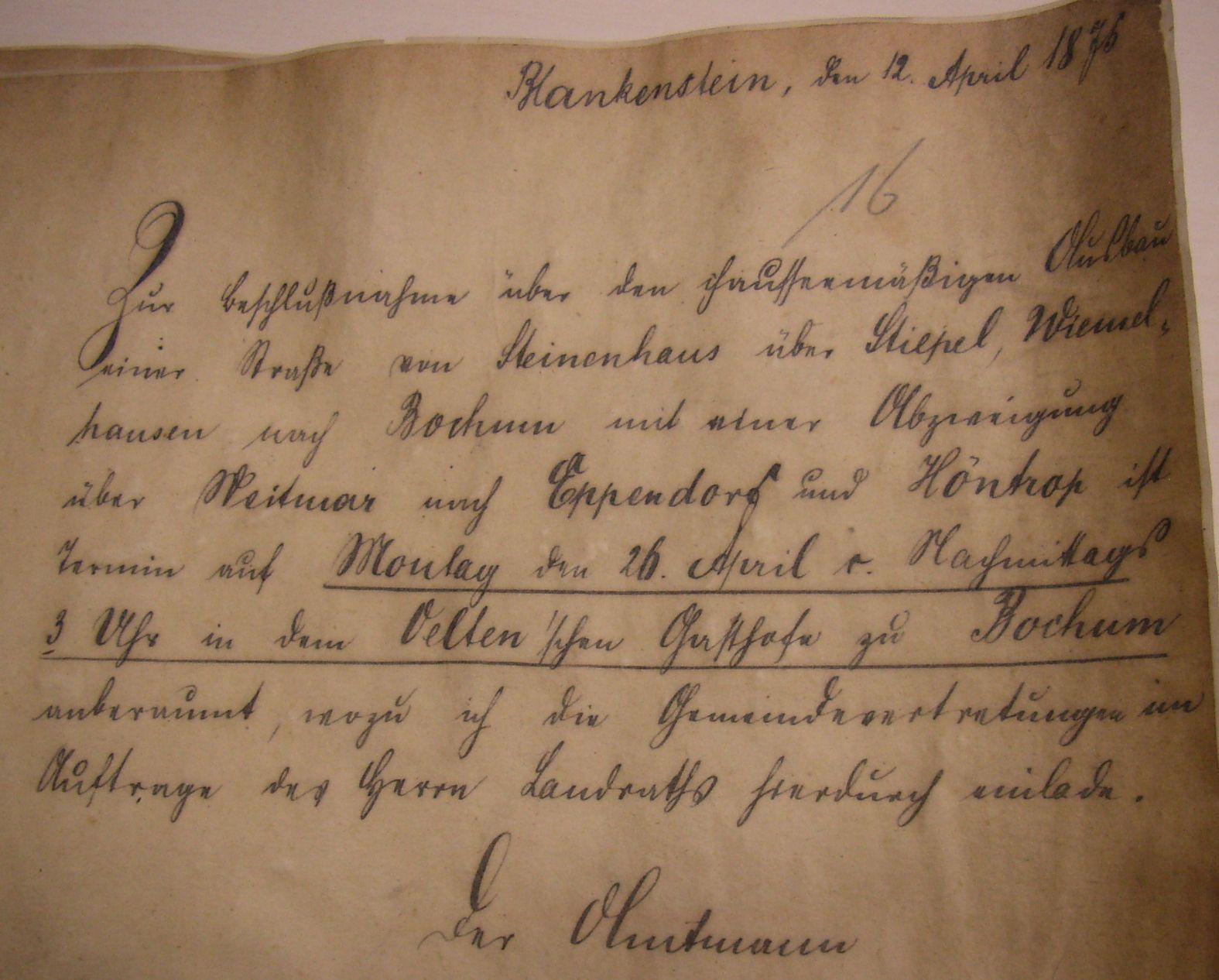 """Einladung """"Zur Beschlußnahme über den chausseemäßigen Ausbau…"""", April 1875"""