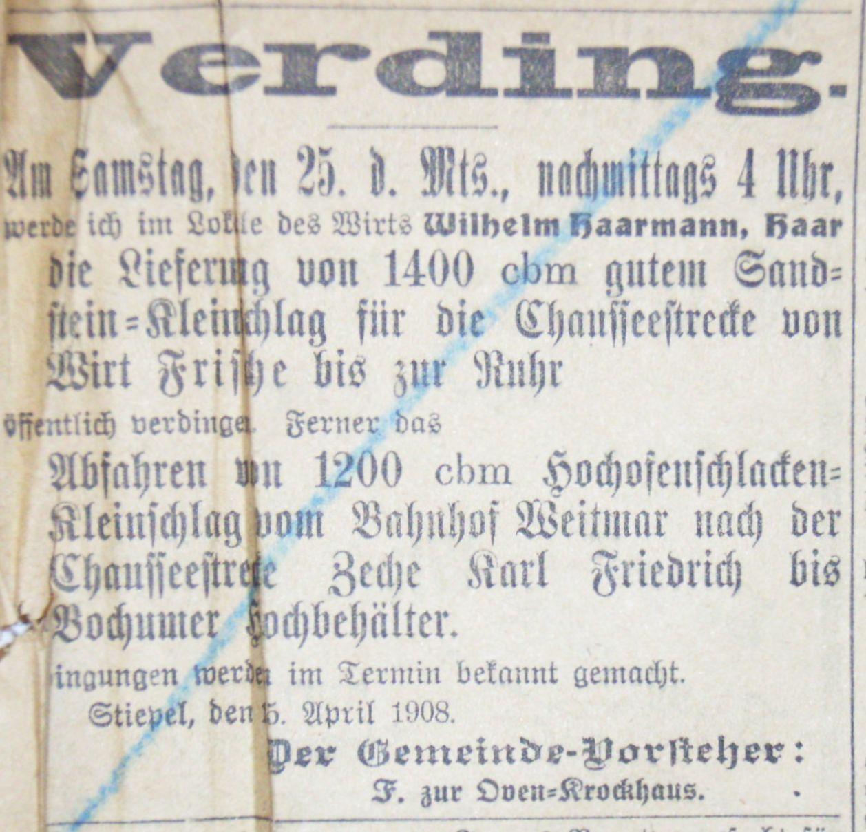 """Ausschreibung vom 15. April 1908: """"… die Lieferung von 1400 cbm gutem Sandstein-Kleinschlag."""""""
