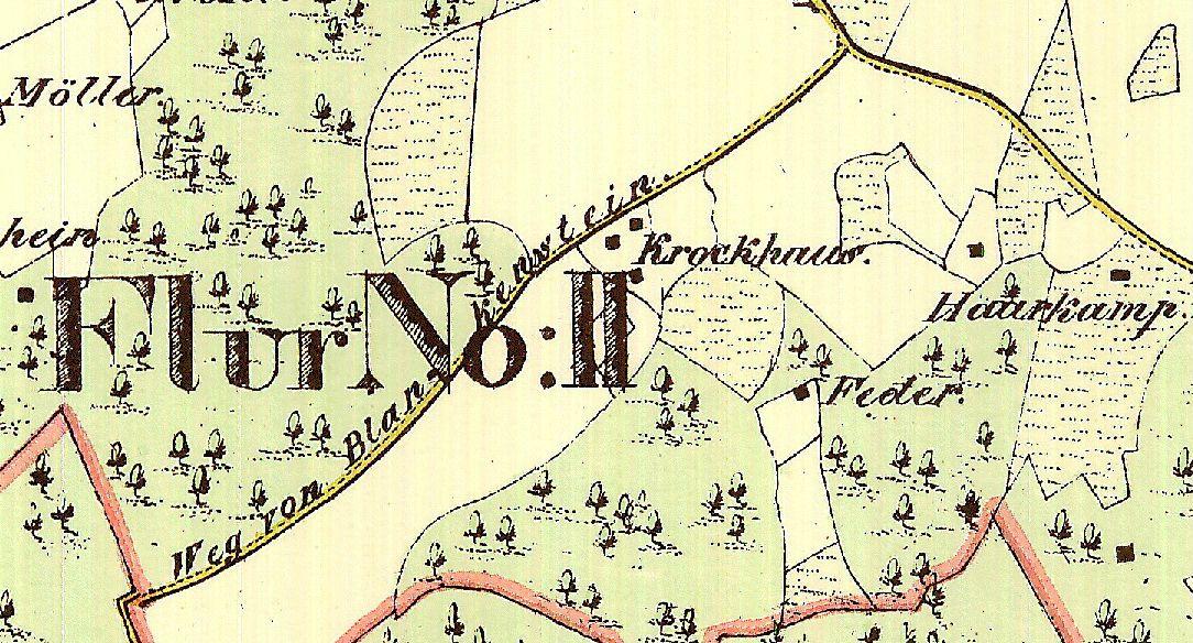 """Auf der Preußischen Gemeindekarte von 1824 wird die Straße als """"Weg von Blankenstein"""" bezeichnet. Herausgeber: Stadt Bochum"""