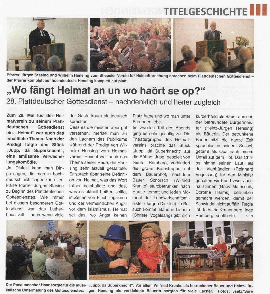 Stiepeler Bote 11-2016: Plattdeutscher Gottesdienst 2016