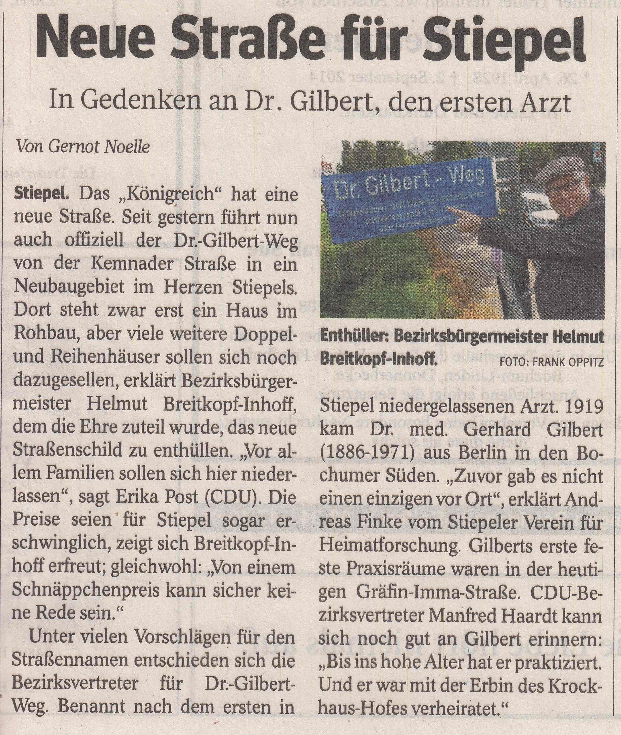 Dr. Gilbert-Weg - Strasseneinweihung
