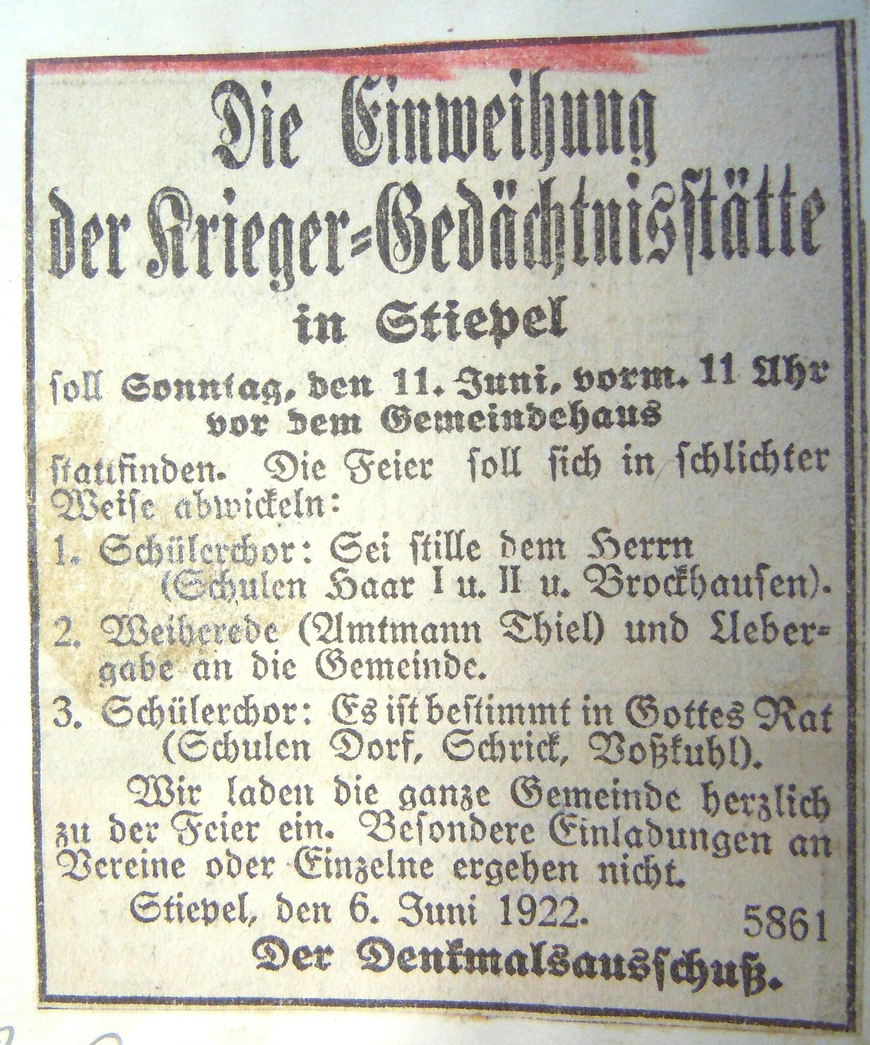 Anzeige aus der Hattinger Zeitung
