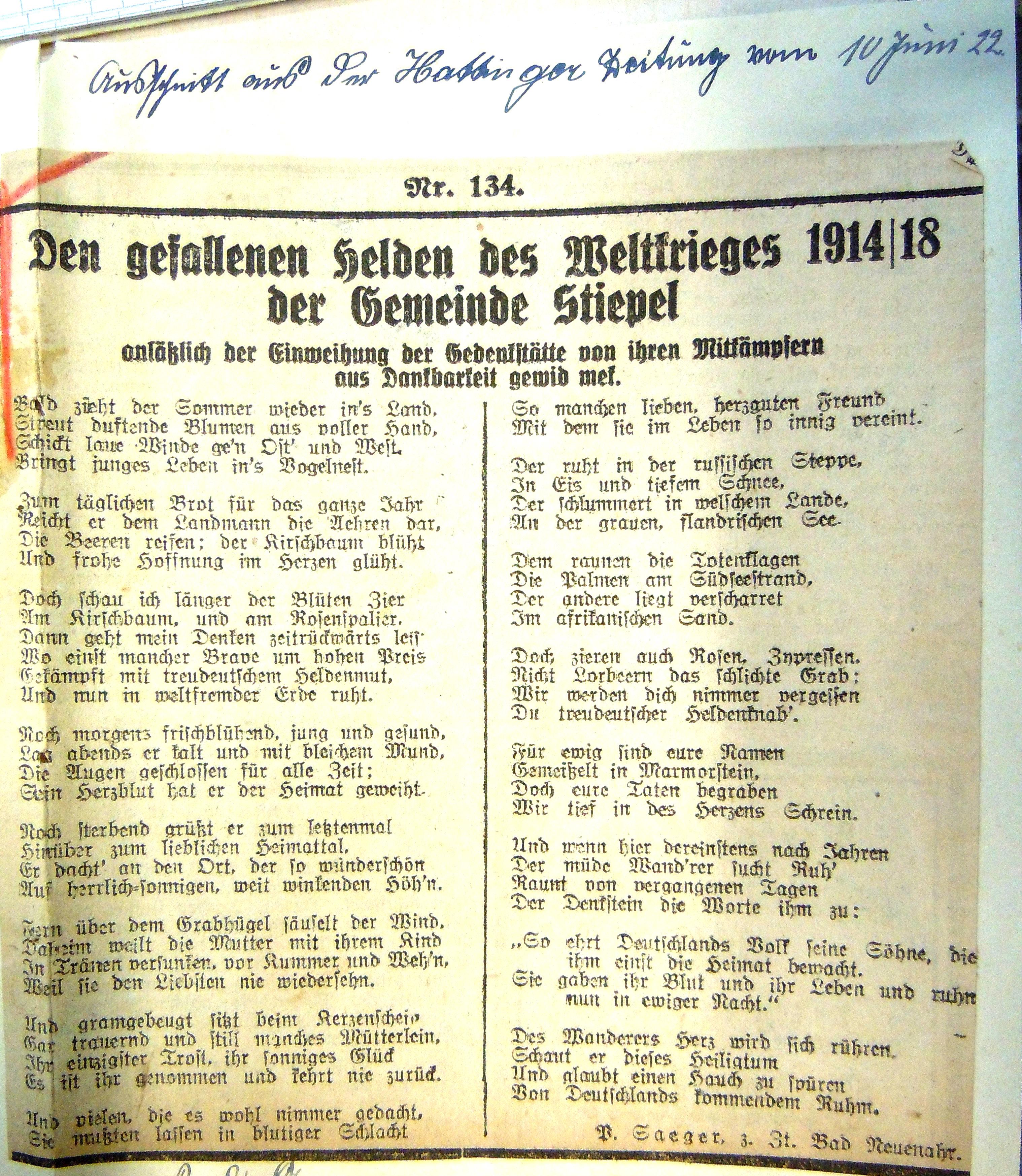 Heldengedicht aus der Hattinger Zeitung