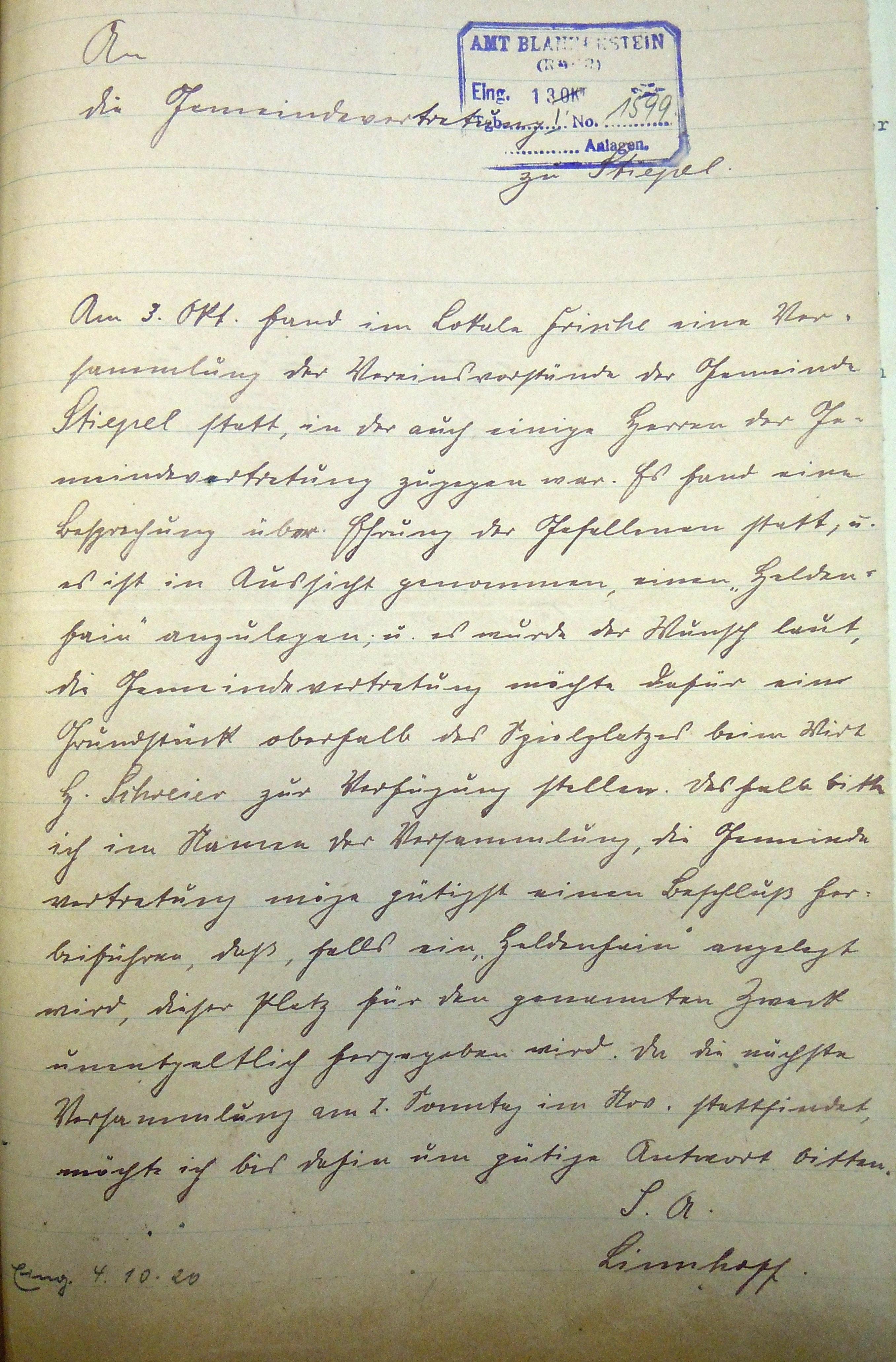 Schreiben vom 4.10.1920