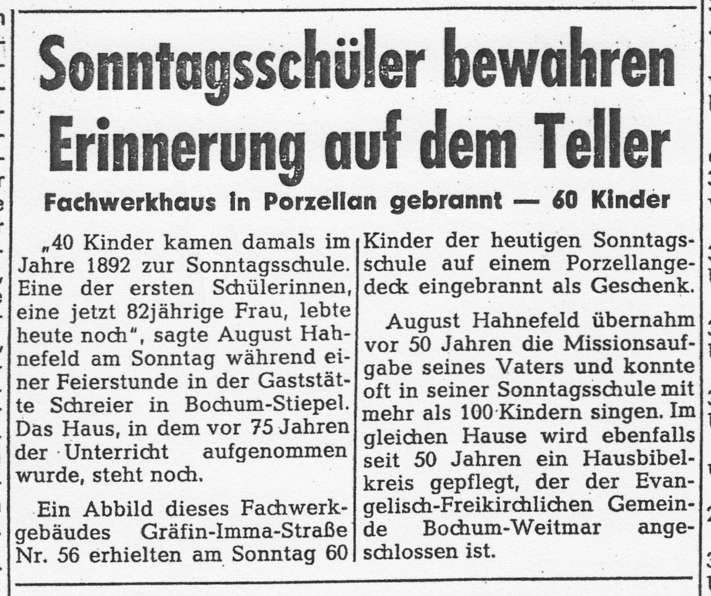 Ausschnitt der WAZ vom 22. Dezember 1967 zur 75-Jahr-Feier