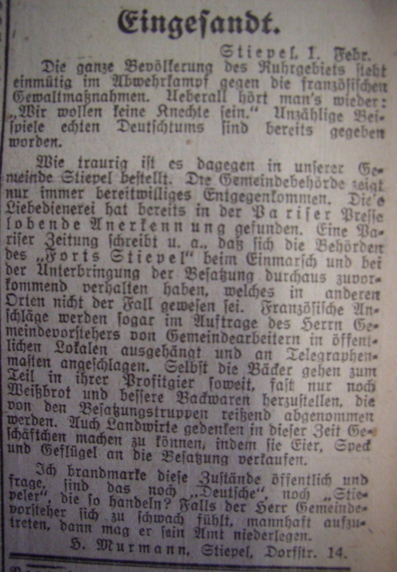 """Hattinger Zeitung: """"Eingesandt"""""""