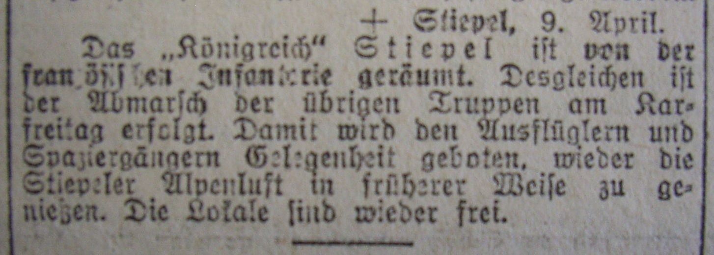 """Hattinger Zeitung vom 9. April 1923: """"Das Königreich ist geräumt ..."""""""