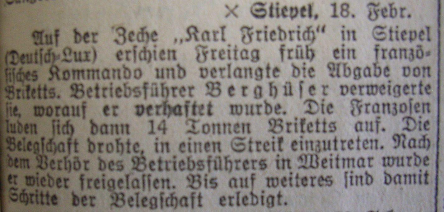 zu 1): Hattinger Zeitung: Betriebsführer Berghüser