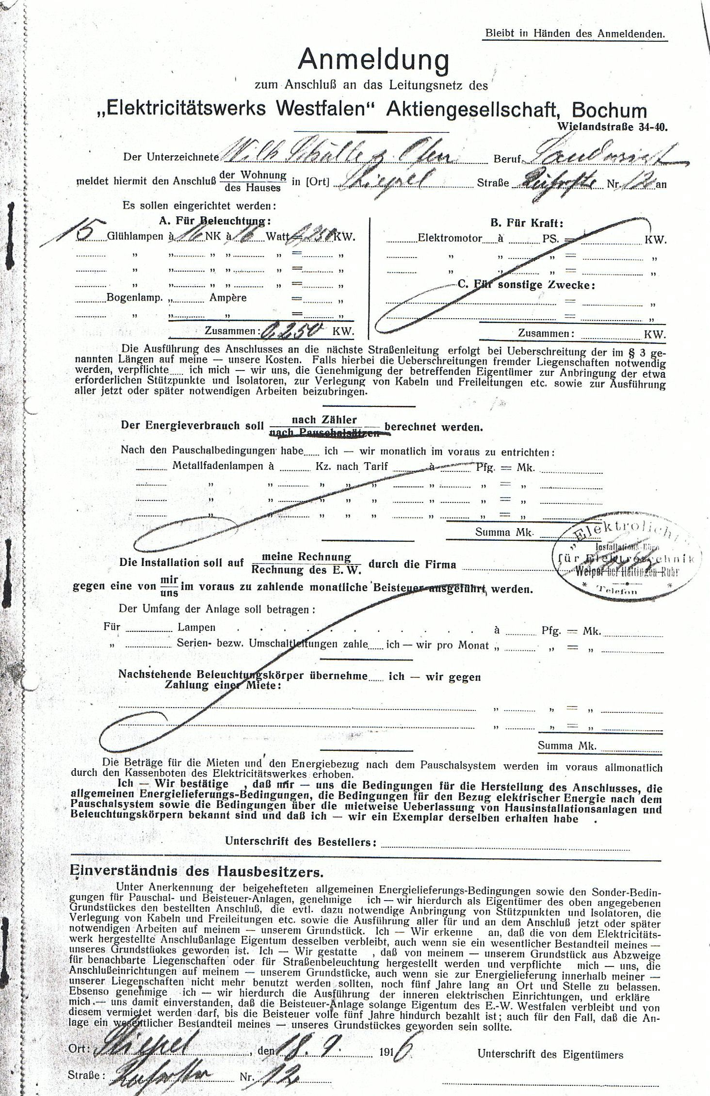 Eine Anmeldung zum Anschluss an das Leitungsnetz aus dem Jahr 1916