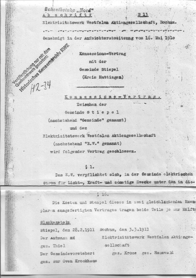 Ein Ausschnitt aus dem Konzessionsvertrag, Quelle: Historisches Konzernarchiv RWE