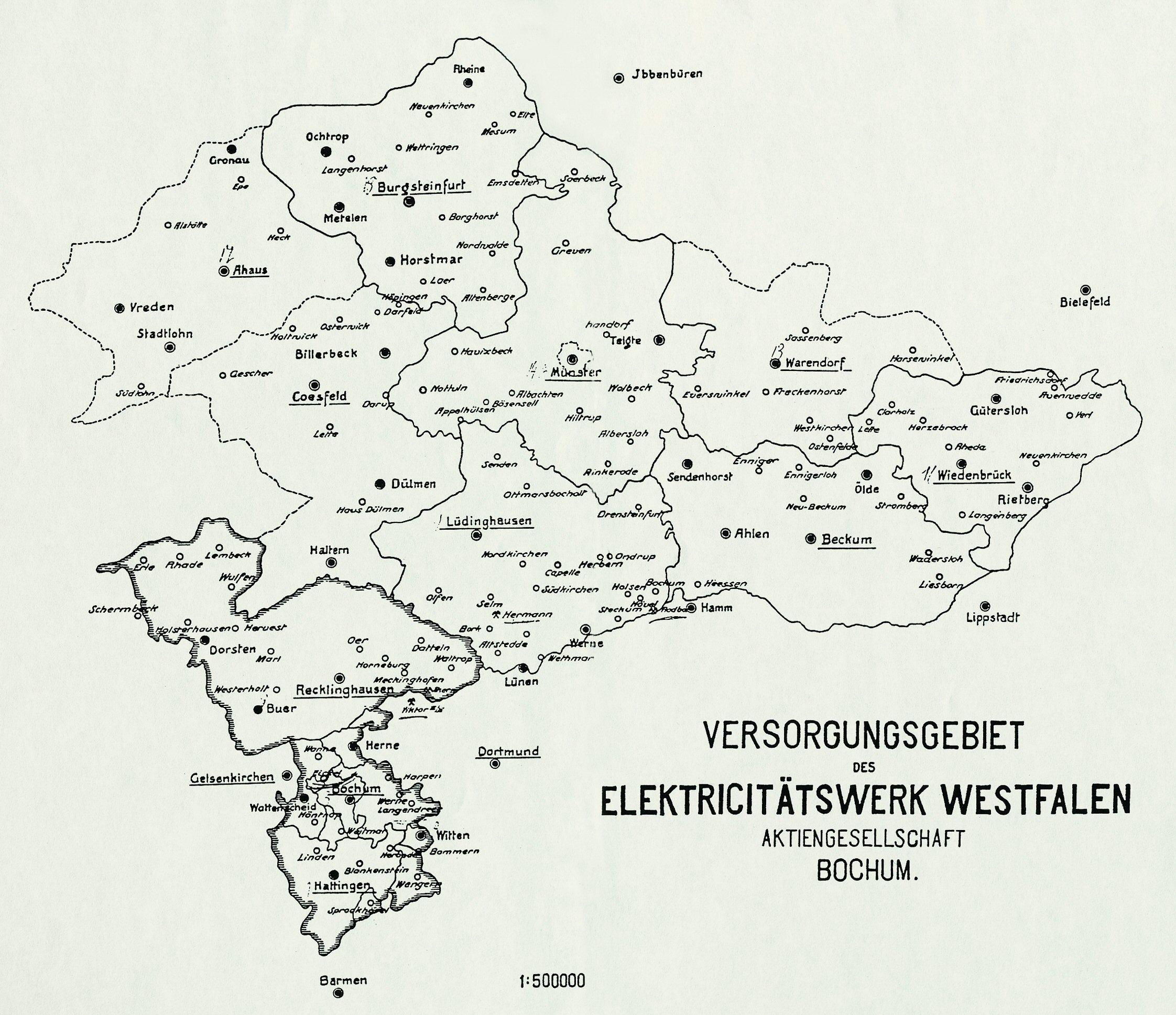 Karte: Archiv der RWE Westfalen-Weser-Ems AG, www.westfaelische-geschichte.de/kar18