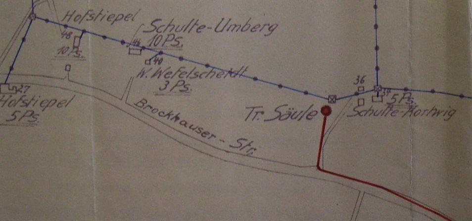 Die Skizze aus dem Jahr 1925 zeigt den genauen Standort.