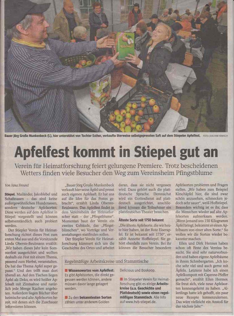 Apfelfest, WAZ vom 10. Oktober 2017