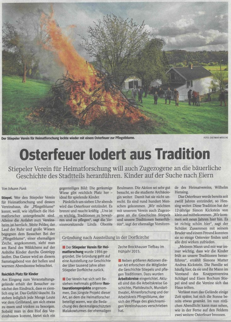 Osterfeuer 2017, WAZ vom 18. April 2017