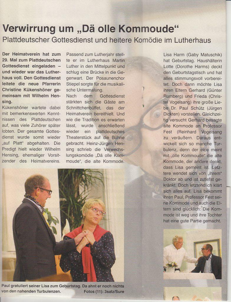 Plattdeutscher Abend 2017, Stiepeler Bote November 2017