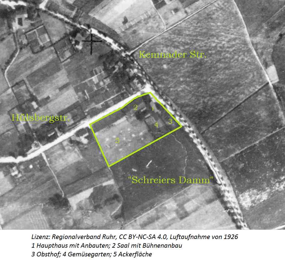 Das ursprüngliche Grundstück Schreier, Luftaufnahme 1926