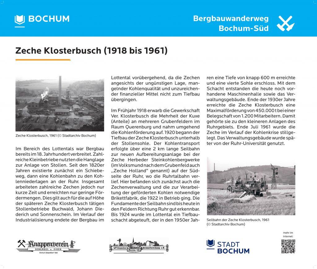 Informationstafel Klosterbusch Bergbaurundwanderweg Bochum Süd