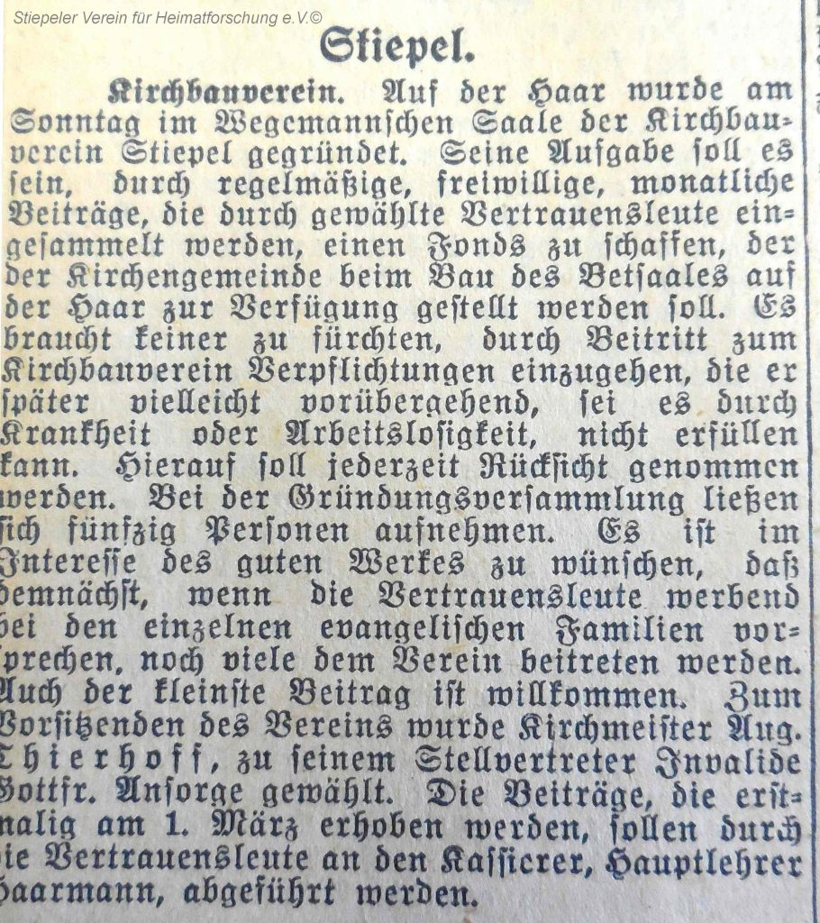 Lutherhaus: Gründung Kirchenbauverein