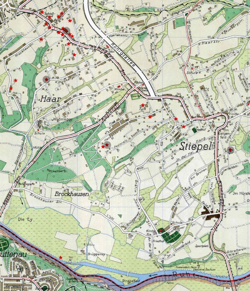 Stadtplan 1939: rot markiert = komplett zerstörte Gebäude; schwarz umkreist = Gebäude mit Toten (mit Genehmigung des Amtes für Geoinformation, Liegenschaften und Kataster der Stadt Bochum, Kontrollnummer: BO/11/367)