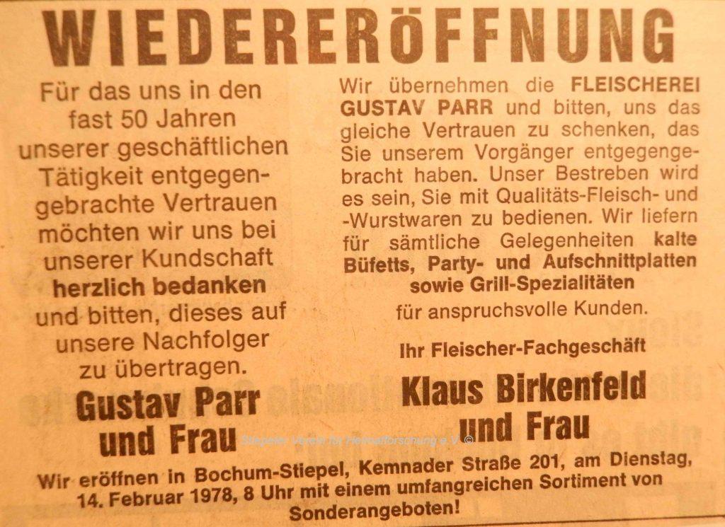 Metzgerei Parr: Wiedereröffnung durch Birkenfeld (1978)