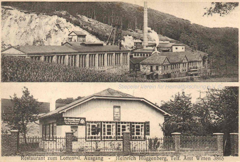 """Postkarte 1930: Die Gastwirtschaft """"Zum Lottental Ausgang"""" von Heinrich Hüggenberg, oben Zeche Klosterbusch"""