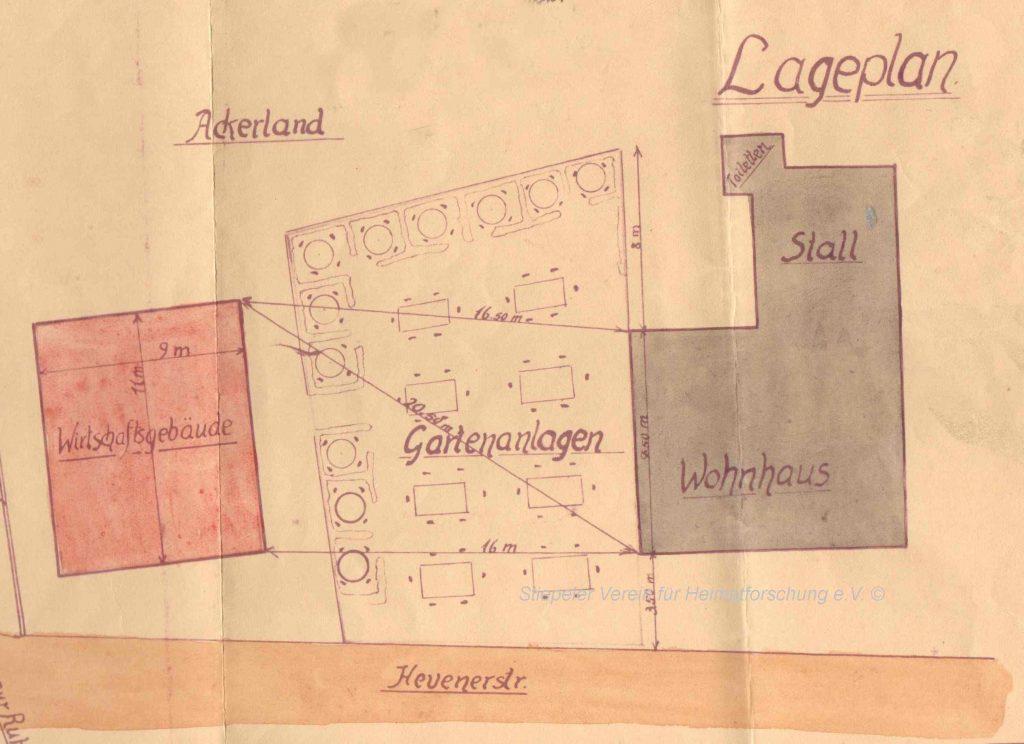 Skizze zum Erweiterungsantrag 1927 mit Wirtschaft, Gartenanlage, Wohnhaus