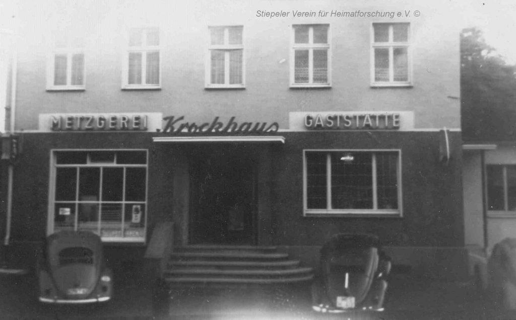 Metzgerei und Gaststätte von Erwin Kleine-Krockhaus, 1960er Jahre.