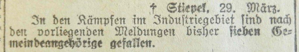 Hattinger Anzeiger, März 1920: Gefallene Stiepeler