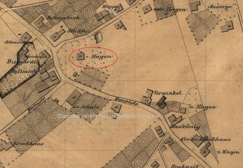 Kartenausschnitt 1909 der heutigen Kemnader-/Krockhaus-/Sandfuhrstraße