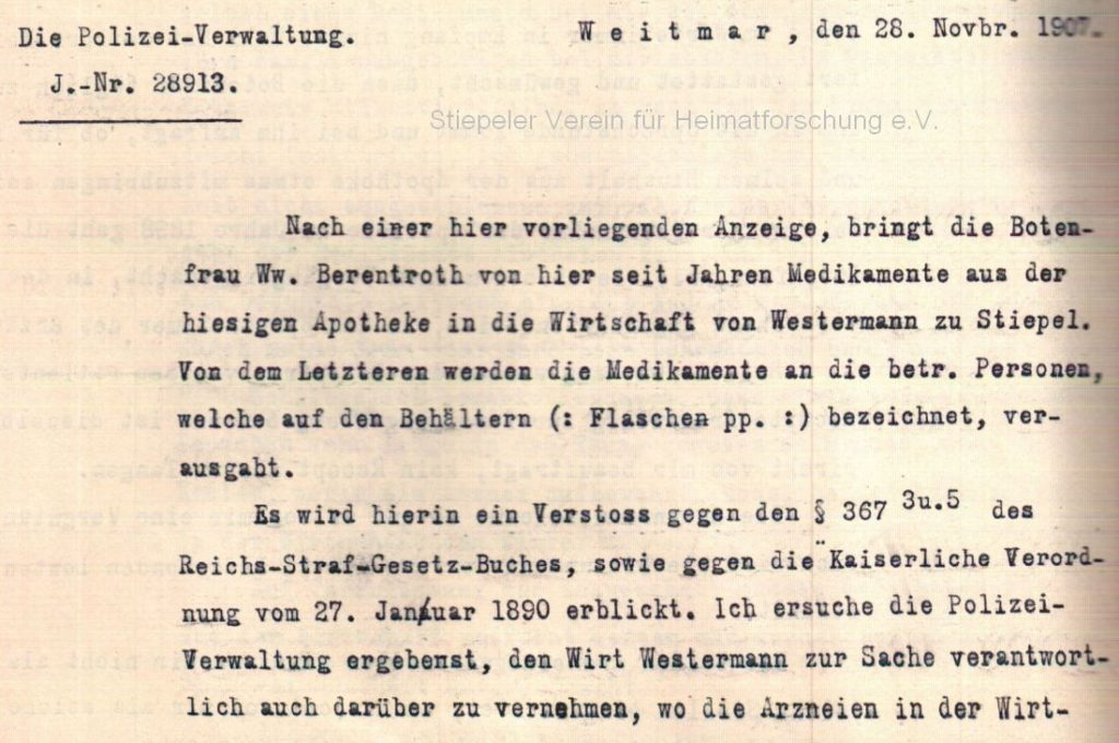 Strafanzeige 1907: Vernehmung Wirt Westermann (Quelle: Stadtarchiv Bochum)