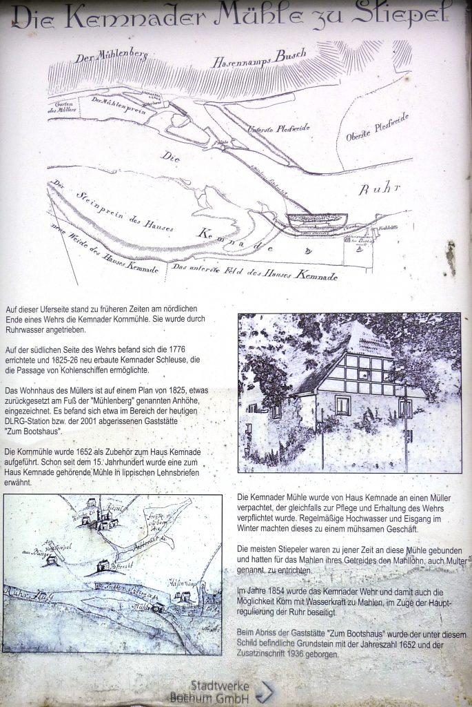 Erste Hinweistafel auf die Kemnader Mühle