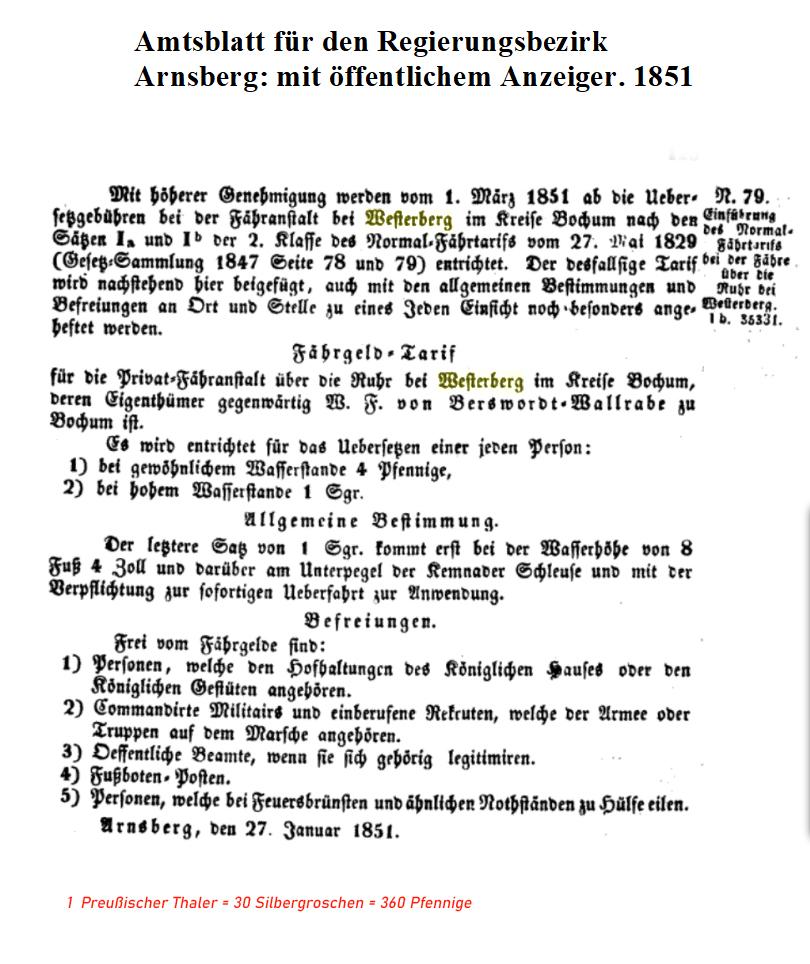 Tarif Fähre Westerberg1851