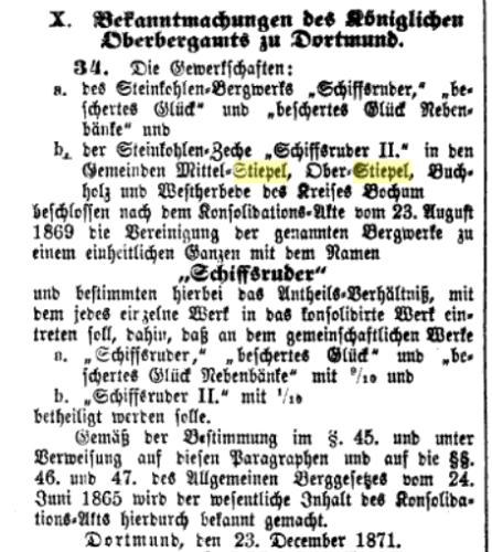 Konsolidation Schiffsruder 1871