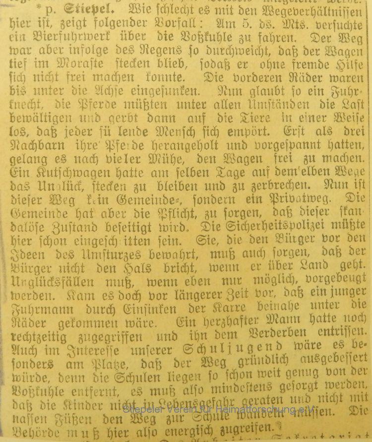 Volksblatt Januar 1906: Bierfuhrwerk an der Voßkuhle